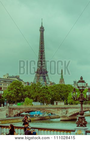 Beautiful parisian scene with Seine river and Eiffel Tower