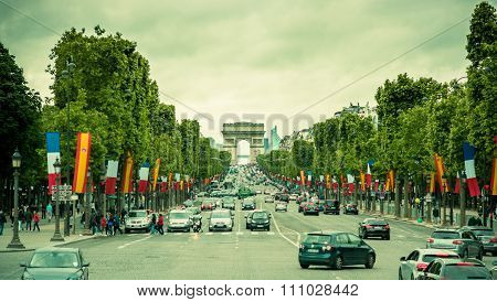 Beautiful view of Champs Elysees and Arc de Triomphe, Paris, France