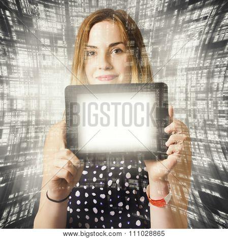 Women Holding Tablet Technology
