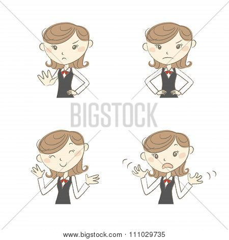 Female Clerk With Various Poses