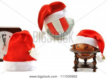 Santa  Hats Collection On White.