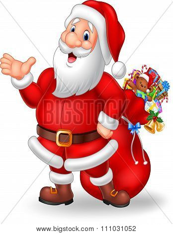 Cartoon funny santa presenting isolated on white background