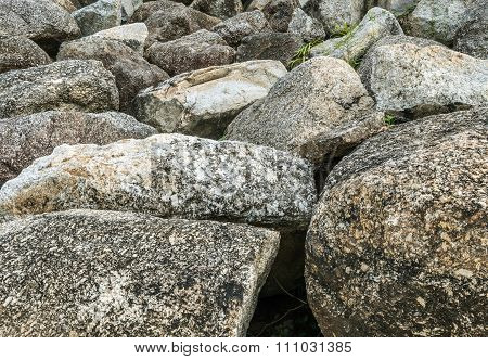 Closeup Group Of Big Rock For Decorate In The Garden Texture Background