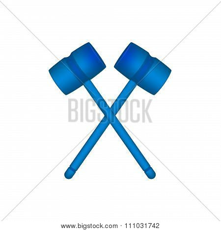 Two crossed wooden mallets in blue design
