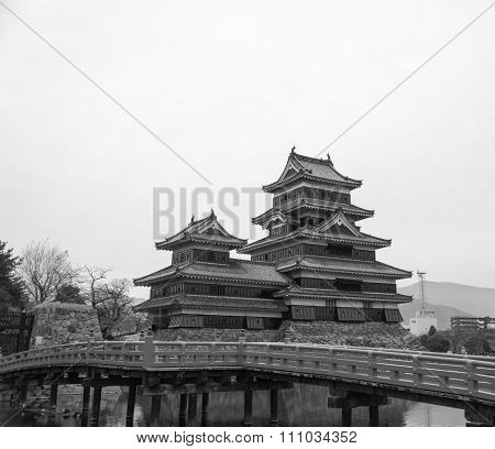 Masumoto Castle , Black Palace For War In Autumn At Nagano Province In  Japan Black And White