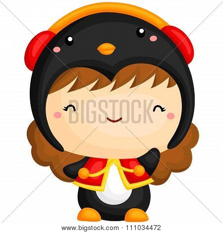 Cute Girl in Penguin Costume