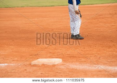 Player Standing On A Baseball Field