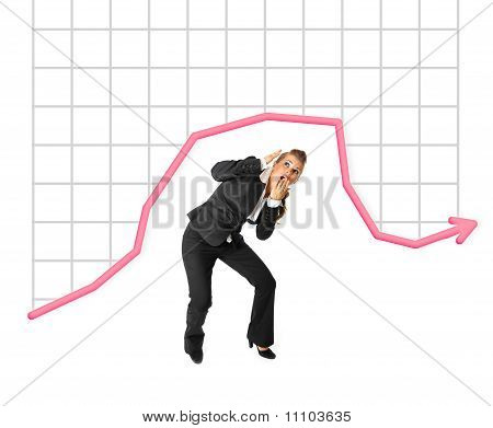 Full length portrait of afraidly modern business woman standing under finance graphic isolated on wh