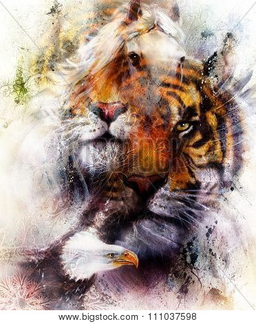 portrait tiger with eagle.  Color Abstract background and ornament, vintage and paper structure. Ani