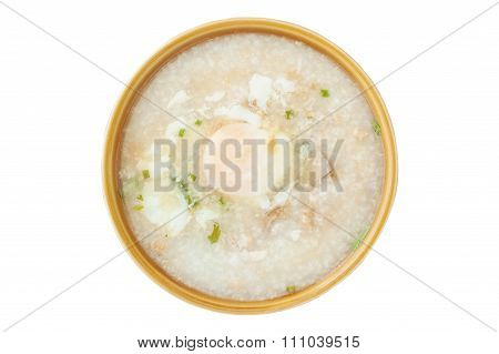 Traditional Chinese Porridge Rice Gruel In Bowl Isolated
