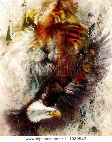 beautiful painting of eagle and tiger on an color abstract background with ornamental pattern, with