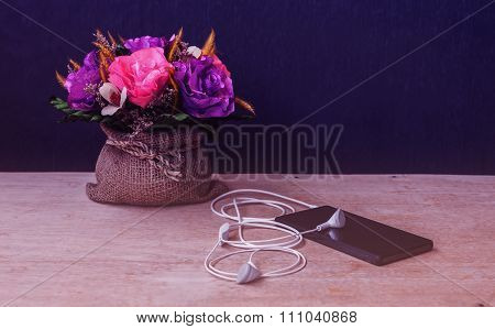 Emotion Of Relax, Smartphone With Earphone And Flower, Vintage And Dark Tone