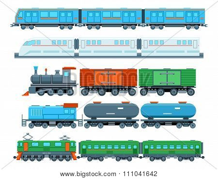 Railway trains in flat style