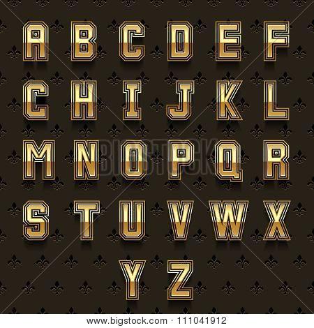 Vector retro golden alphabet