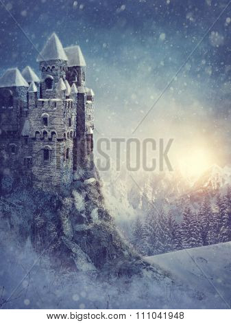 Winter landscape with old castle at night
