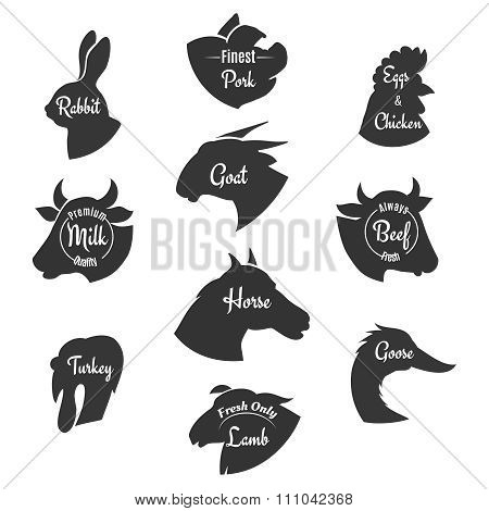 Heads of farm animals icons vector set. Butchery labels or logos collection