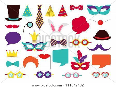 Party Birthday photo booth props. Vector collection