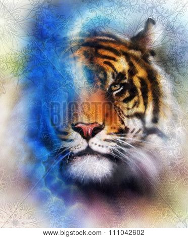 tiger collage on color abstract background and mandala with ornament, painting wildlife animals. Blu