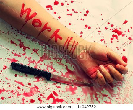 Female Suicide With Work Messages , Knife On The Hand