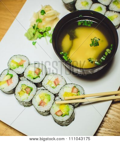 Vegetarian Sushi And Miso Soup In A Restaurant