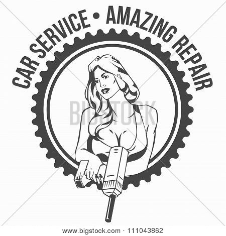 Car service retro vintage badge with sexy woman  keeps drill