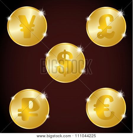 A set of gold coins: the Euro, dollar, ruble, yuan, pound