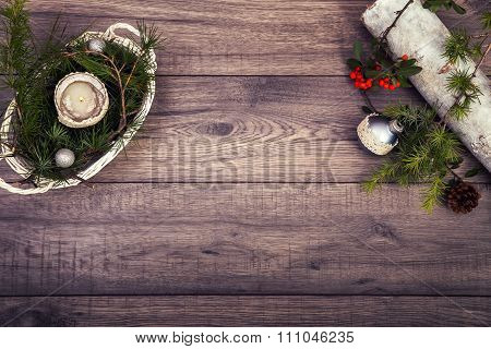 Christmas background on wooden table and copy space