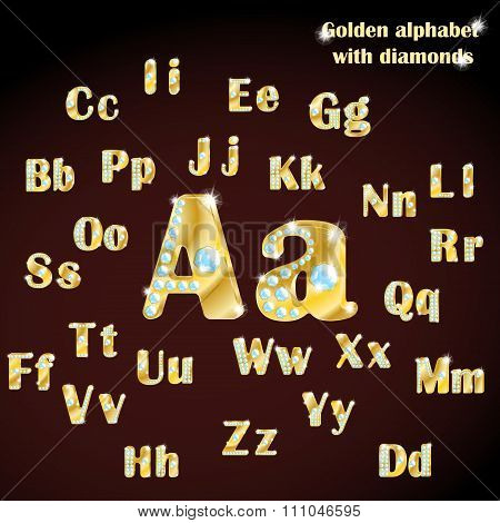 Golden alphabet with diamonds, uppercase and lowercase letters. Vector illustration.