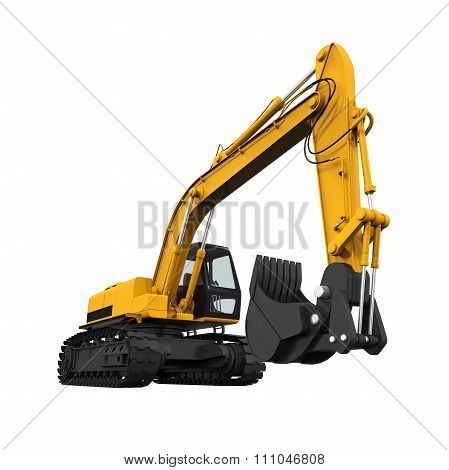 Yellow Excavator Isolated