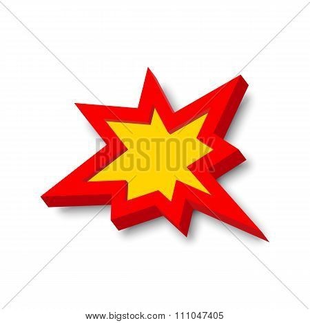 Bang explosion sign with 3D style