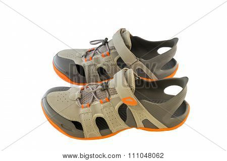 Pair Of Sport Sandals Over White Background