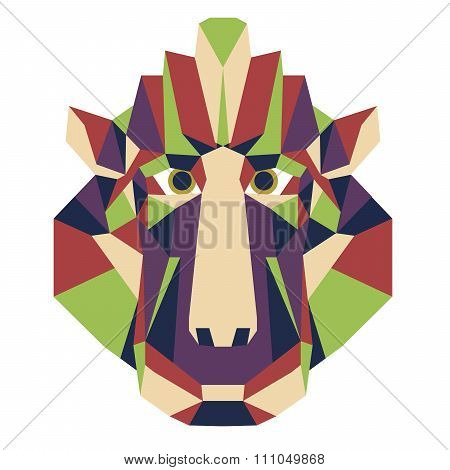 Monkey head triangular icon - low poly vector.