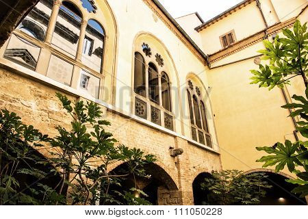 Ancient Courtyard In Basilica Of Santa Croce, Florence, Tuscany, Italy