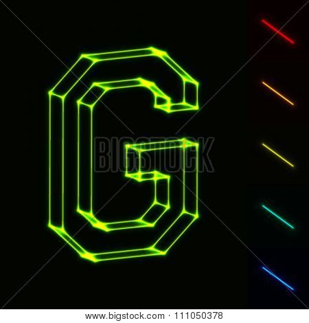 EPS10 vector glowing wireframe letter G - easy to change color