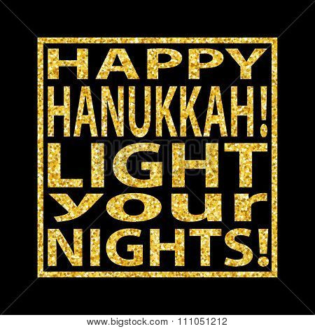 Hanukkah Quote Golden Glitter Background 4