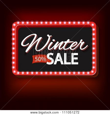Winter sale with purple lights vintage frame
