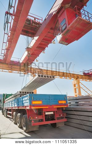 Loading concrete products in onboard car