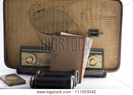 Some Vintage And Antique Objects Including A Radio, Binoculars And An Old Letter