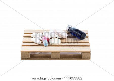 Transportation Logistics Of Pills And Medicines On Pallets