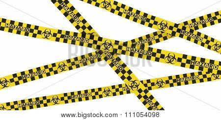 Biohazard Symbol Checkered Yellow and Black Barrier Tape Background - 3D Illustration