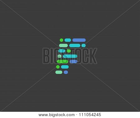 Abstract letter F logo.  Dynamic code vector unusual font.