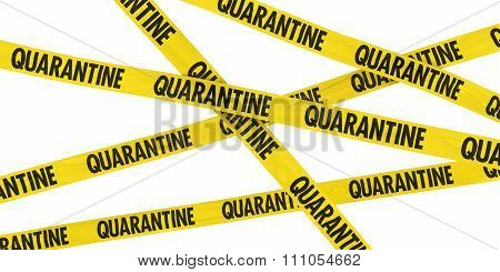 Yellow Quarantine Barrier Tape Background Isolated On White