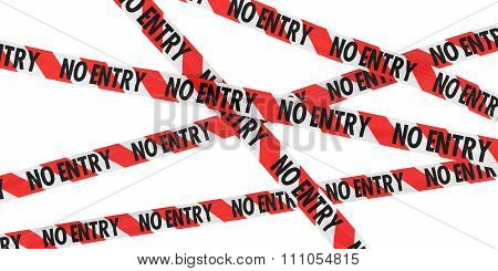 Red And White Striped No Entry Barrier Tape Background