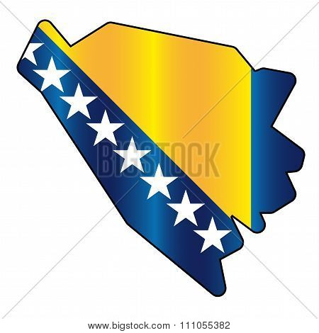 Bosnia and Herzegovina flag map
