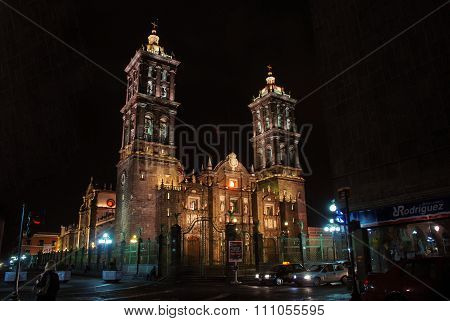 Illuminated Catholic Cathedral in Puebla