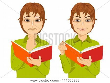 young boy focused reading interesting book