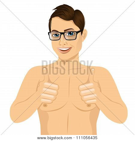 muscular man showing thumbs up