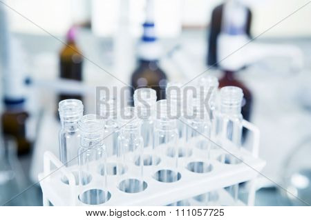 Laboratory Equipment, Glass Tubes In Laboratory Interior.