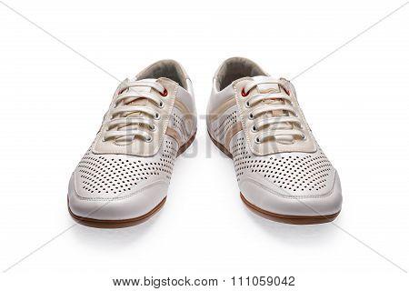 Men's Summer White Elegant Leather Shoes