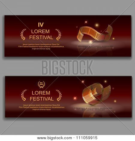 festival movie horizontal banners,  camera film 35 mm roll gold,  Slide films frame, vector illustra